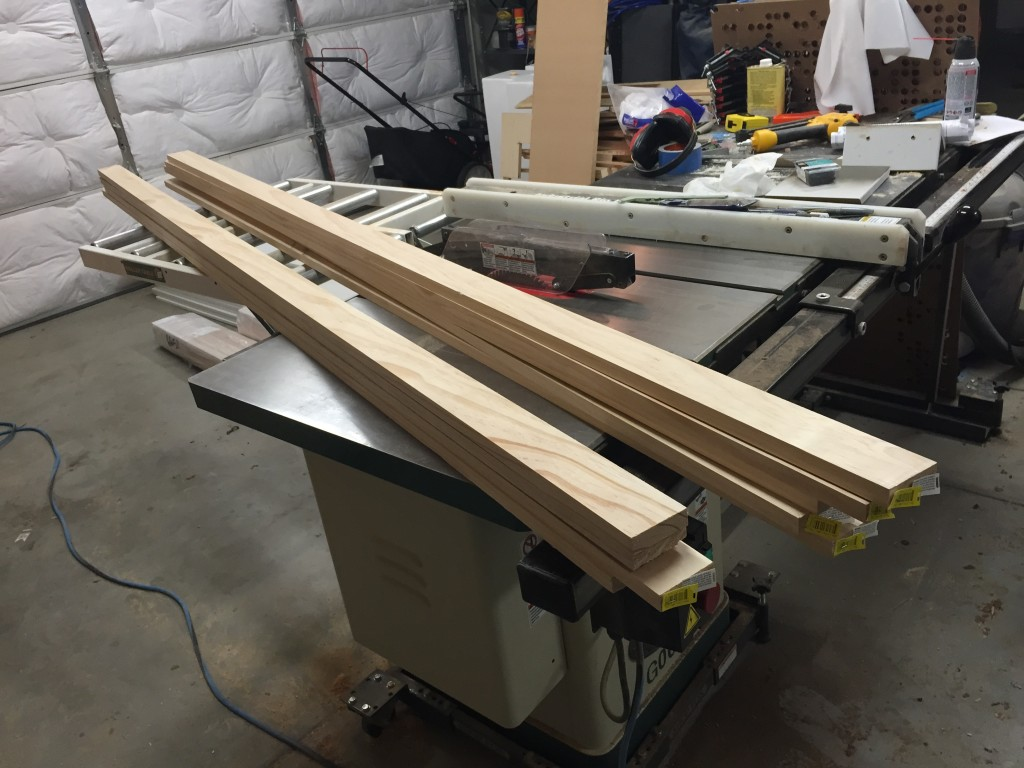 "1"" x 3"" pine for mounting cleats"