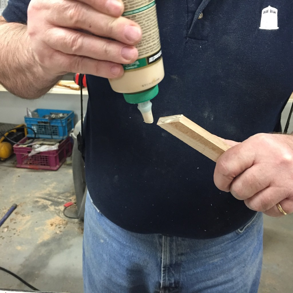 Gerry glues a poplar board