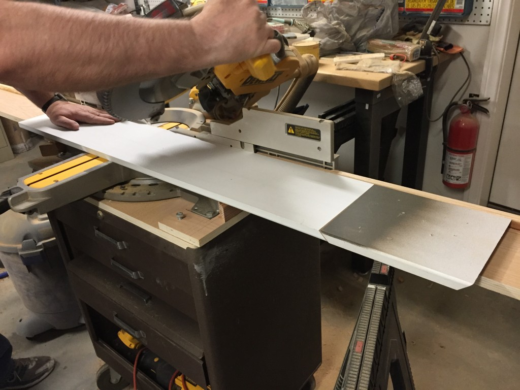 MDF in jig for second miter-cut