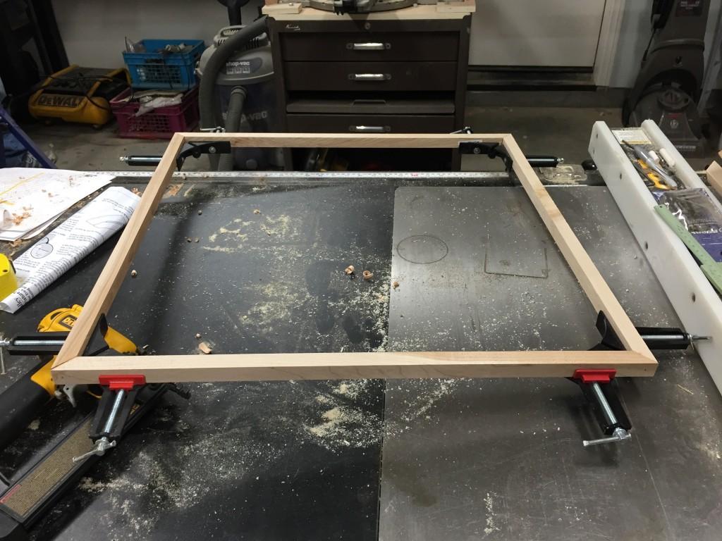 2' x 2' poplar frame clamped