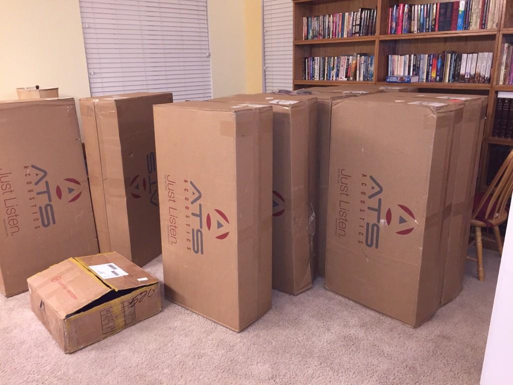 Boxes of Corning 703 rigid fiberglass