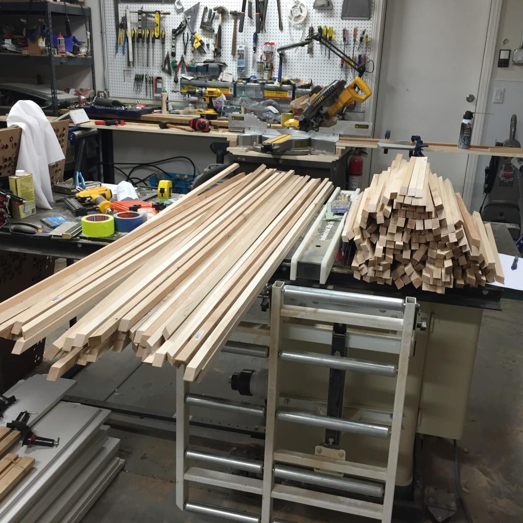 Piles of poplar boards